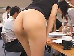 Asian secretaries are working in the nude office