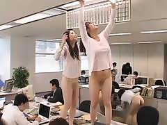 Lovely Asian group of secretaries naked