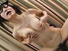 Cute Asian brunette has a double blowjob session